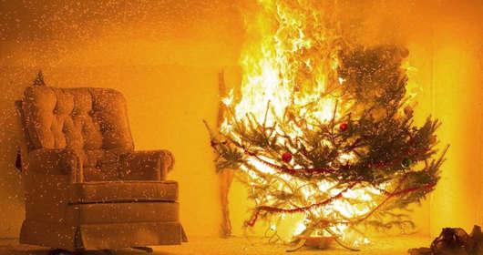 pożar choinka