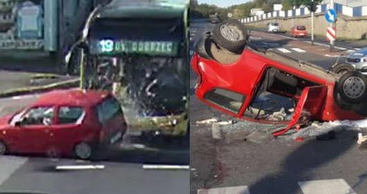 kalisz wypadek samochodowy autobus linia 19 KLA