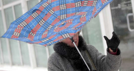 deszcz śnieg parasol wiatr