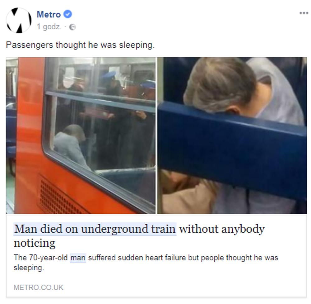 70-latek zmarł w metrze. Nikt nie zauważył