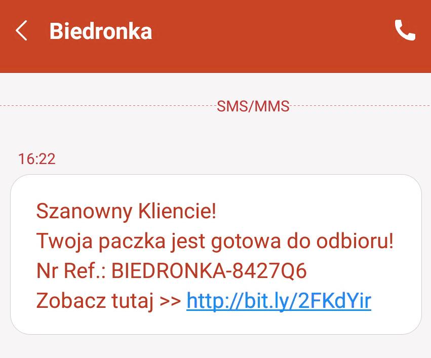 Fałszywy SMS od Biedronki
