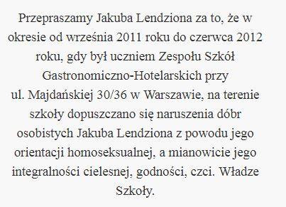 Szkoła przeprasza Jakuba Lendziona