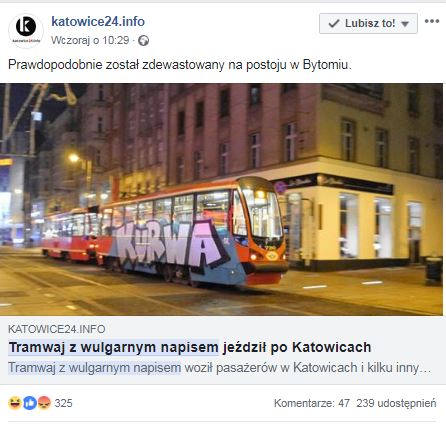 KAtowice tramwaj z wulgarnym napisem