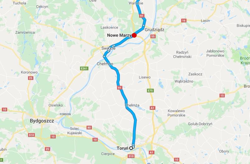 Do wypadku doszło w Nowych Marzach na drodze krajowej nr 91.