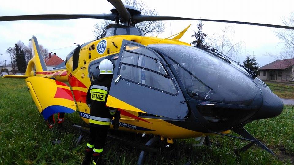 Na miejsce wysłano karetkę, strażaków z OSP Odolanów i śmigłowiec Lotniczego Pogotowia Ratunkowego.