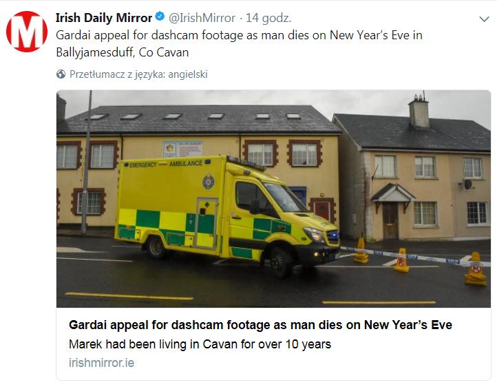 Polak zadźgany na śmierć w Irlandii
