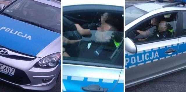 drzemka policjantów w radiowozie