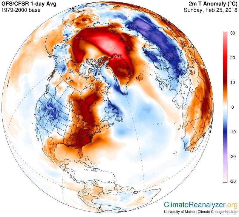 temperatura na biegunie północnym luty 2018