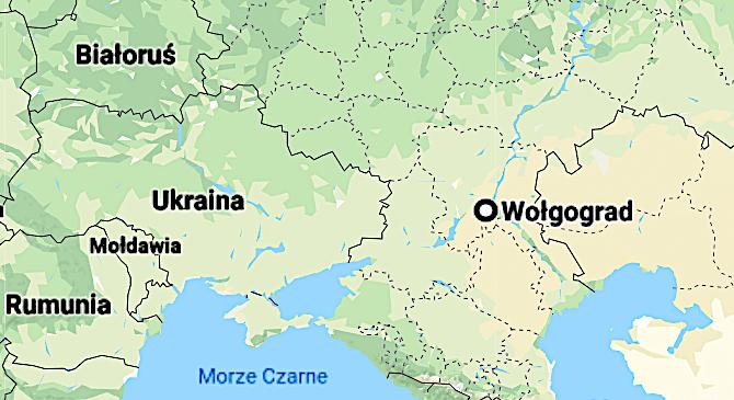 Wołgograd w Rosji na mapie